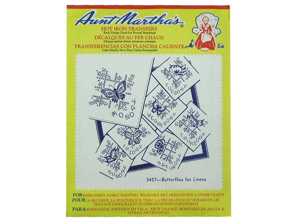 Aunt Martha's Hot Iron Transfer #3437 Butterflies for Linens 3437