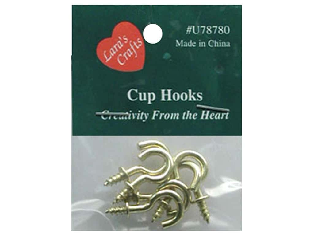 """Lara's Brass Plated Cup Hook 1/2"""" 6 pc"""