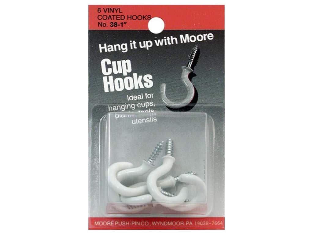Moore Cup Hooks Vinyl Coated 1 in. White 6 pc 38-W