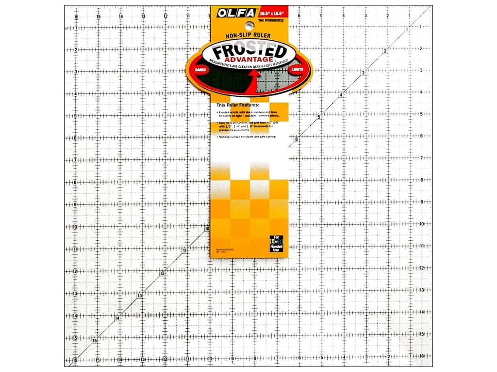 Olfa Frosted Acrylic Ruler 16 1/2 x 16 1/2 Square QR-16S