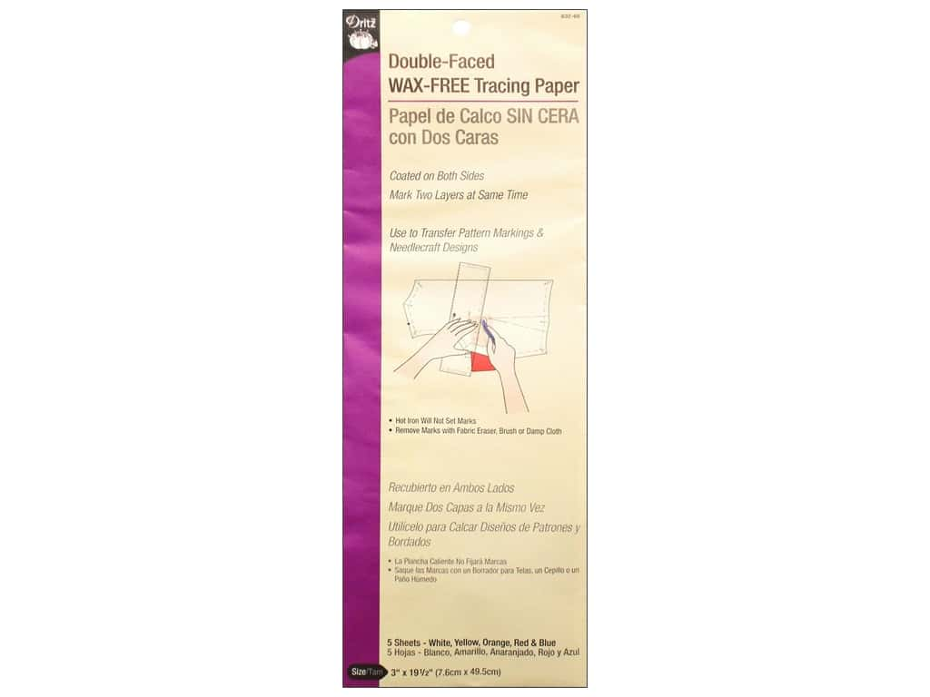 Double Faced Wax Free Tracing Paper by Dritz Assorted Colors 5pc 632.66