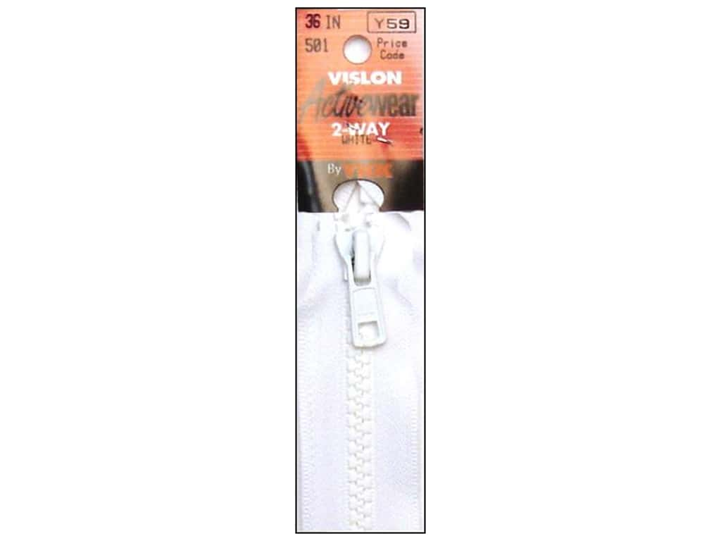 "YKK Vislon 2 Way Separating Zipper 36"" White ART11.36.501"