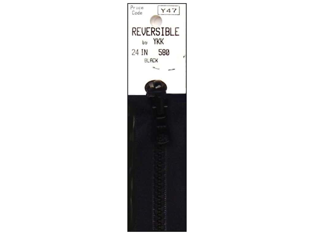"YKK Vislon Reversible Zipper 24"" Black"