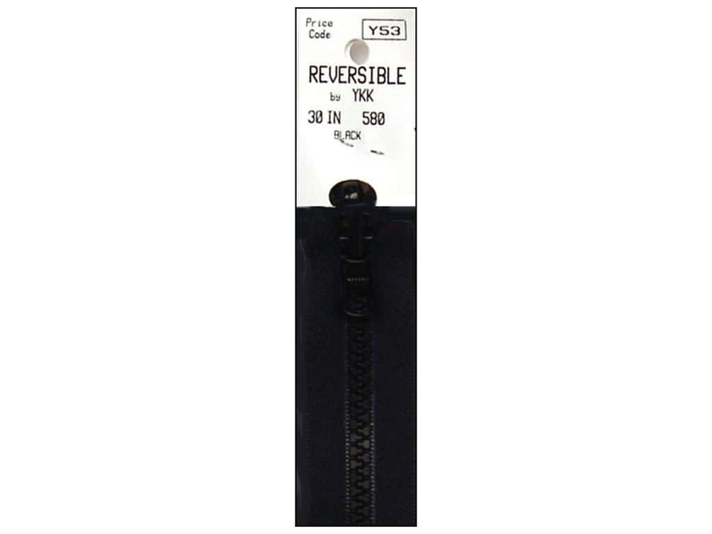 "YKK Vislon Reversible Separating Zipper 30"" Black VF058.30.580"