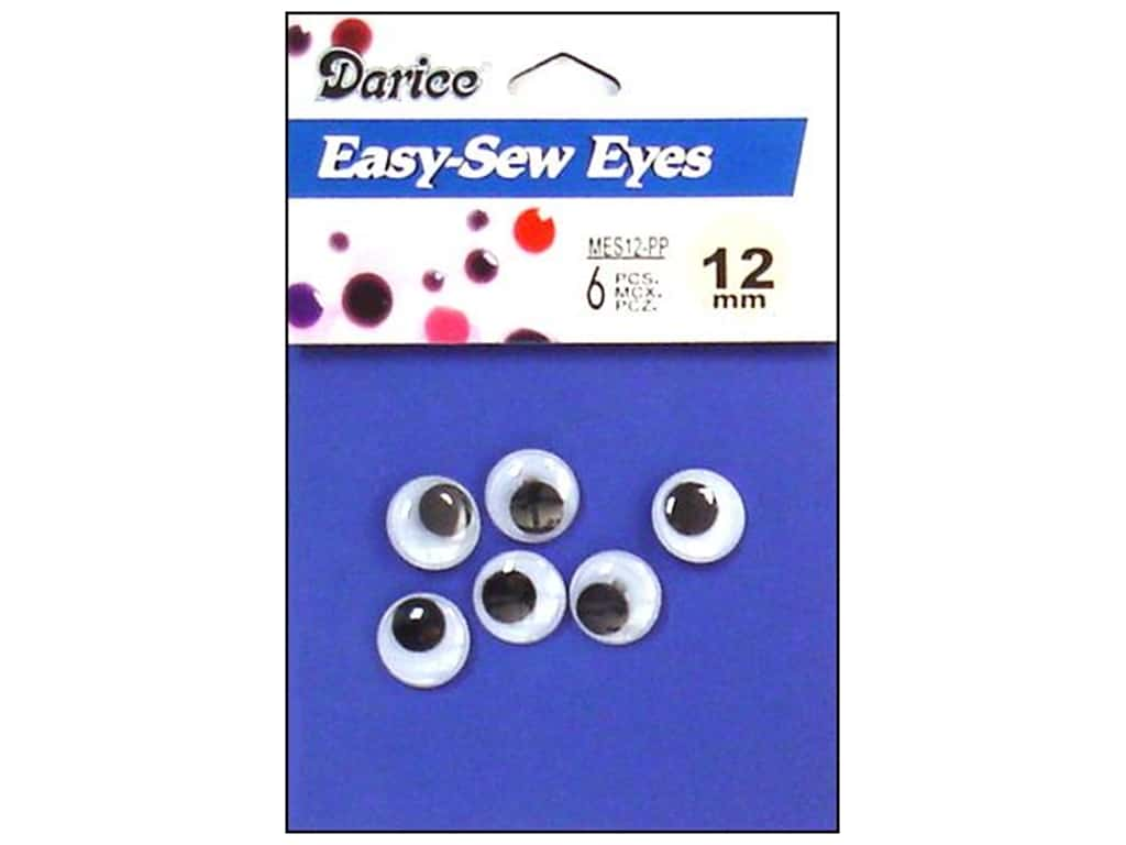Darice Googly Eyes Sew-On 12 mm Black 6 pc. MES12-PP