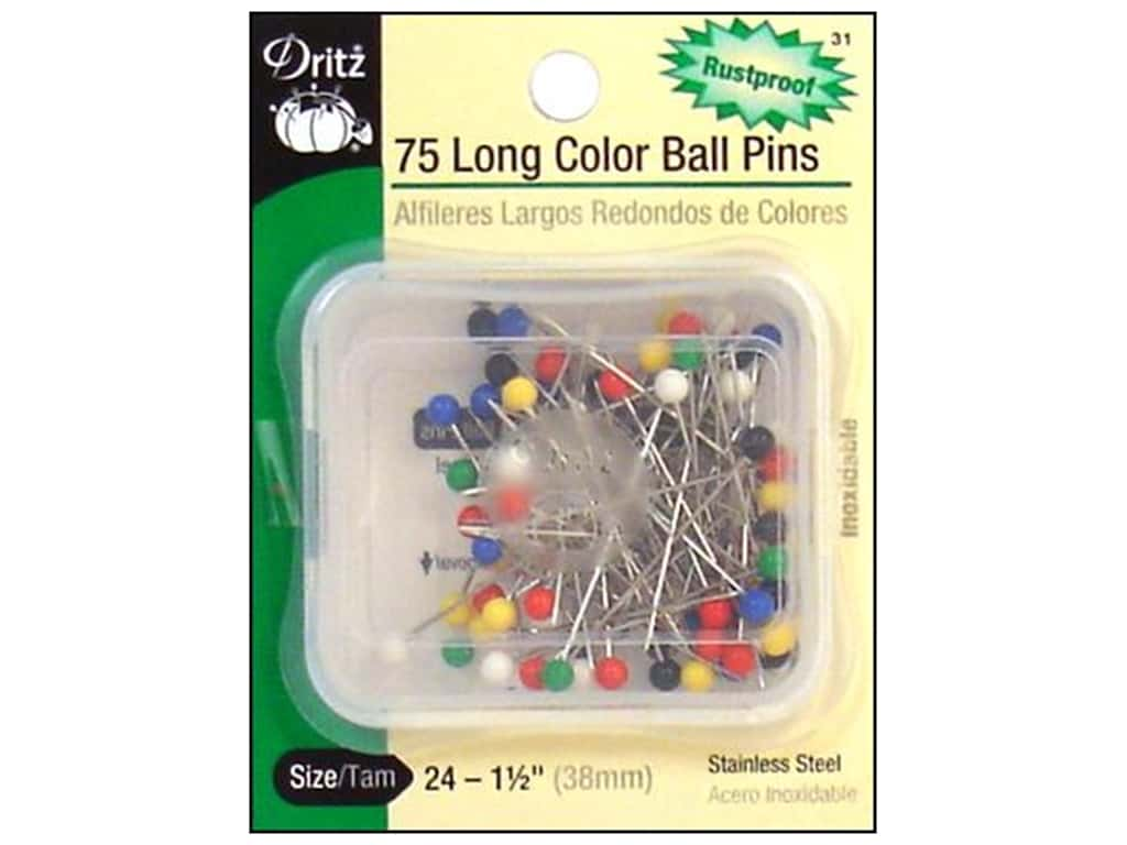 Color Ball Pins - Long by Dritz Size 24 75 pc. 31