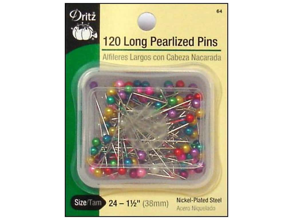 Long Pearlized Pins by Dritz Size 24 120 pc. 64