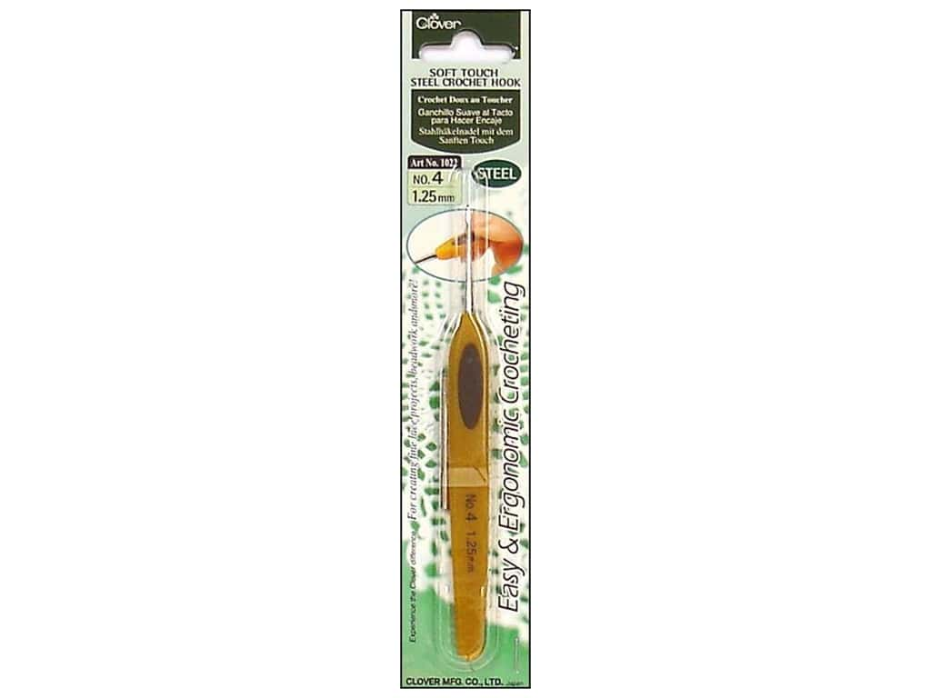 Clover Soft Touch Steel Crochet Hook Size 4 (1.25 mm) 1022