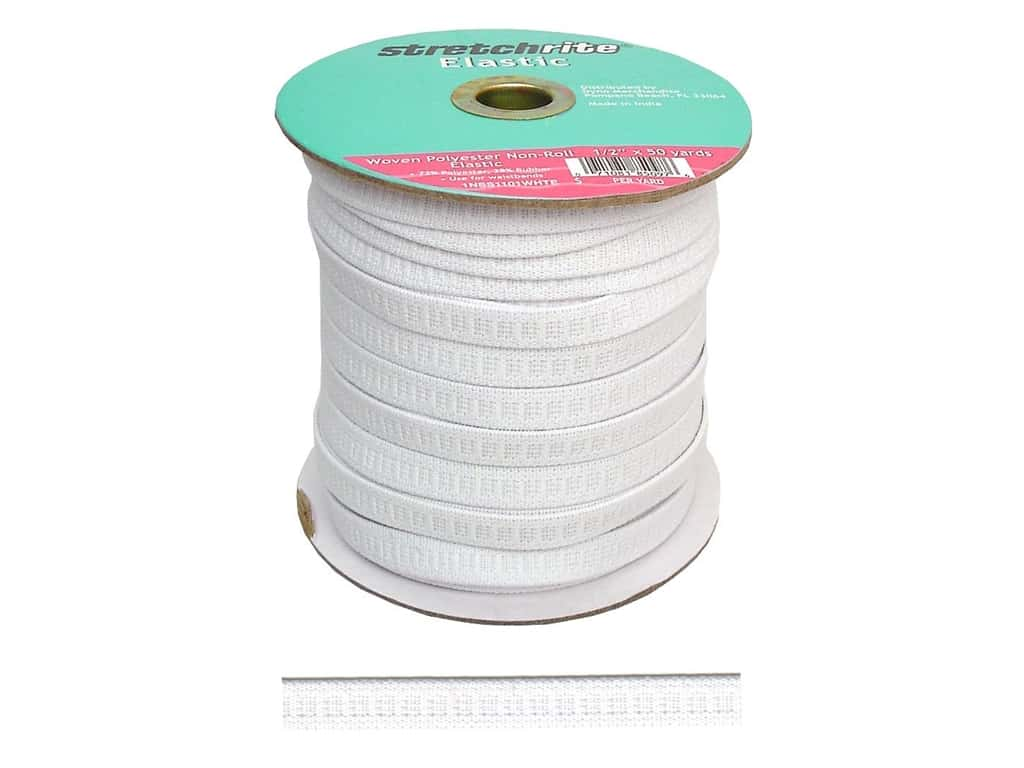 Stretchrite Non-Roll Flat Elastic 1/2 in. x 50 yd. White SS1101.W