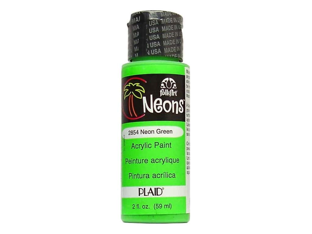Plaid FolkArt Acrylic Paint 2 oz. #2854 Neon Green FA2854