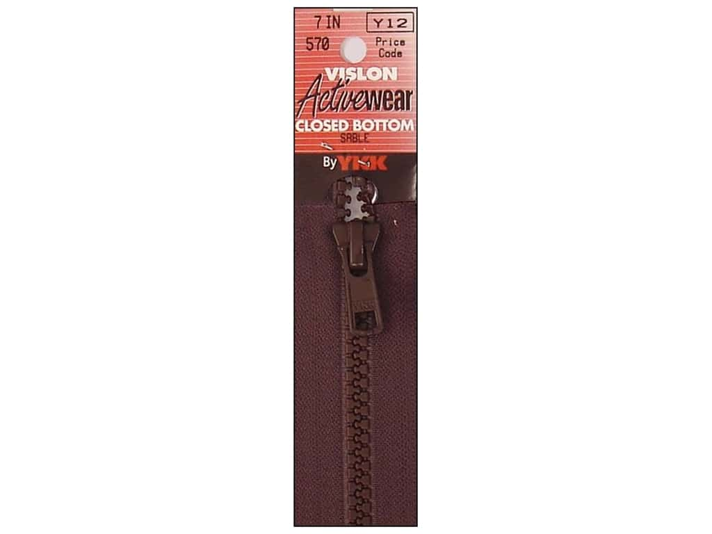 "YKK Vislon Closed Bottom Zipper 7"" Sable"