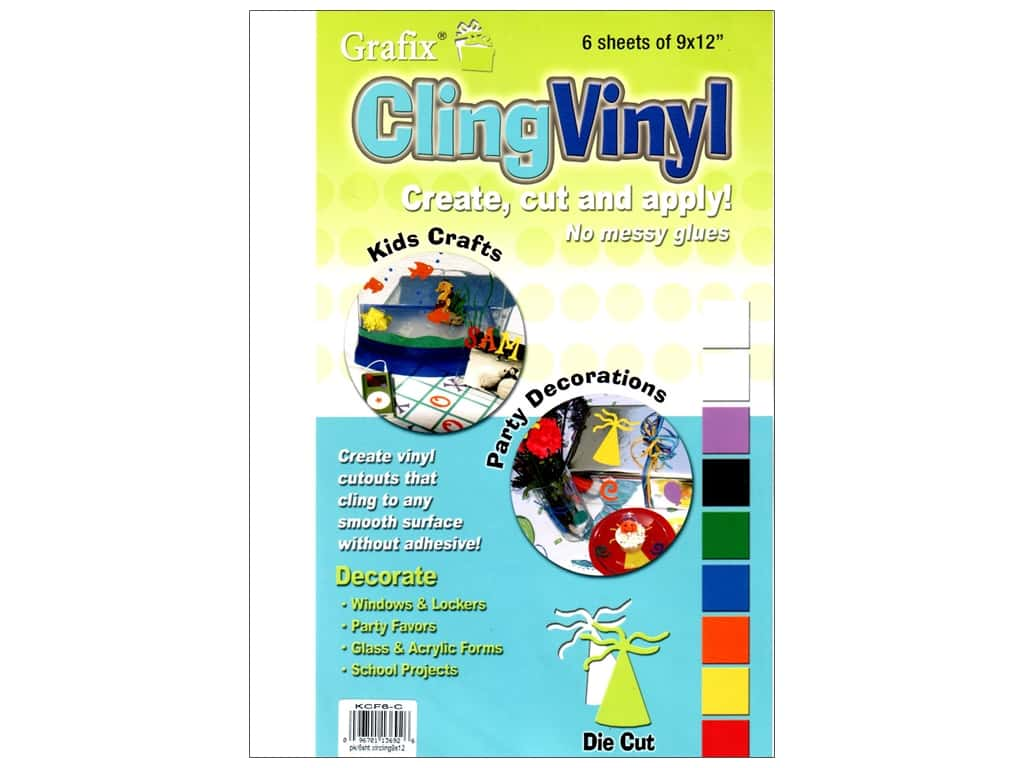 "Grafix Cling Vinyl Sheet 9""x 12"" Clear 6pc"