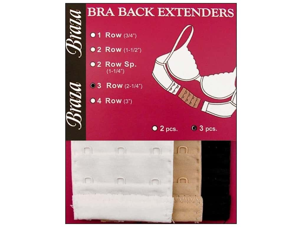 Braza Bra Extender 2 1/4 in. 3 Hook 3 pc. Assorted