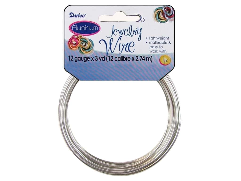 Darice Aluminum Jewelry Wire 12 Gauge Silver 3 yd. 1999-1526