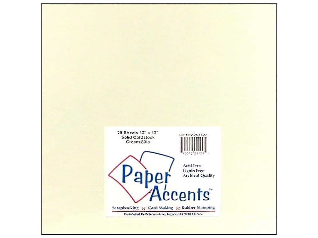 Cardstock 12 x 12 in. #119M Smooth Cream by Paper Accents ADP1212-25.119M