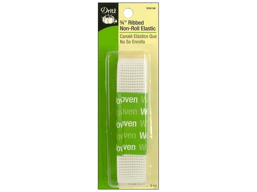 Ribbed Non-Roll Elastic by Dritz White 1 in x 1 yd 9301W