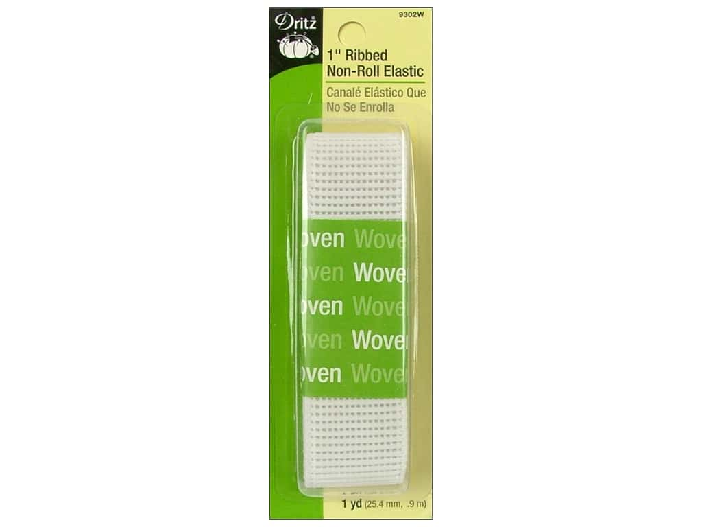 Ribbed Non-Roll Elastic by Dritz White 3/4 in x 1 yd 9301W