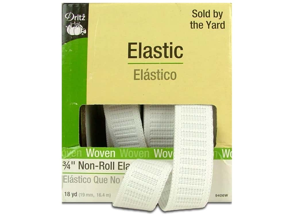 Non-Roll Elastic by Dritz White 3/4 in x 18 yd 9406W