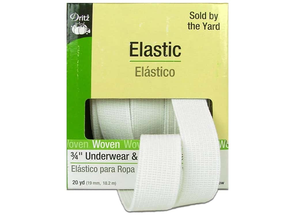 Underwear and  Pajama Elastic by Dritz .White 3/4 in. x 20yd 9410W