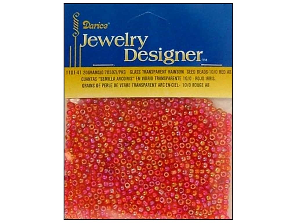 Darice 10/0 Glass Seed Beads 20 gm. Transparent Red AB 1101-41