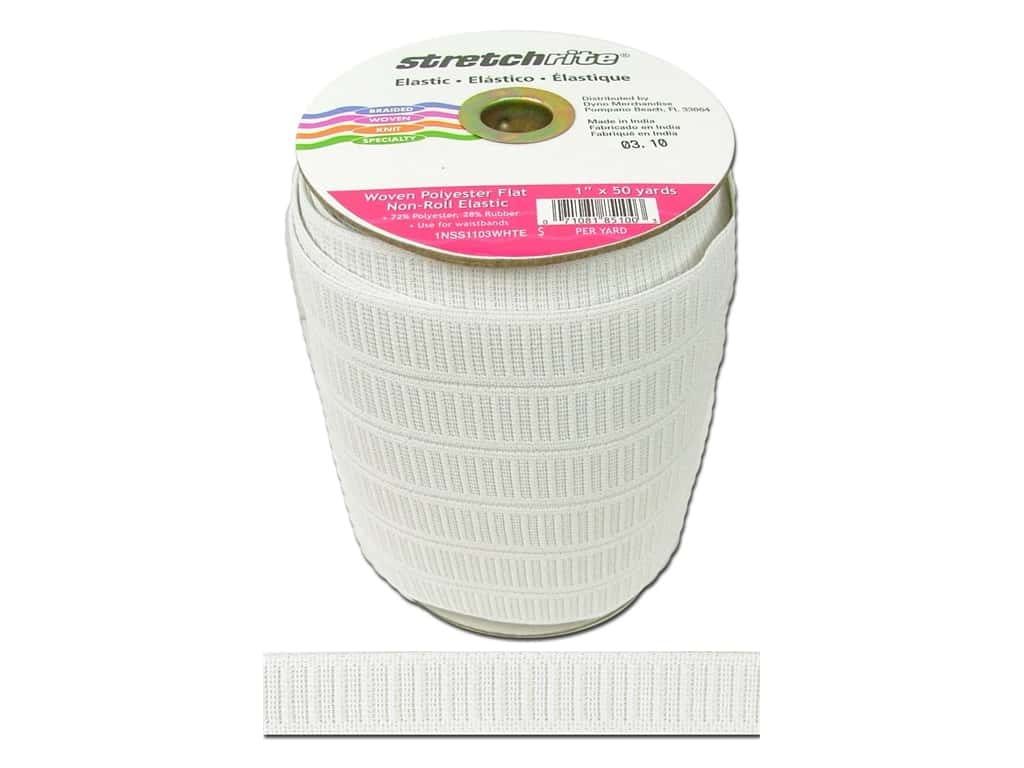 Stretchrite Non-Roll Flat Elastic 1 in. x 50 yd. White 1NSS1103WHTE
