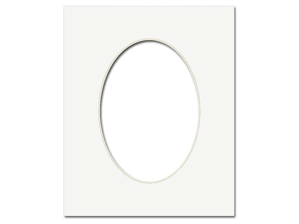 Pre Cut Oval Photo Mat Board Cream Core 8 X 10 In White