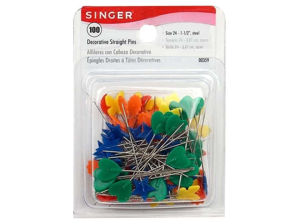 Singer Straight Pins Decorative 100 pc. Box 000359