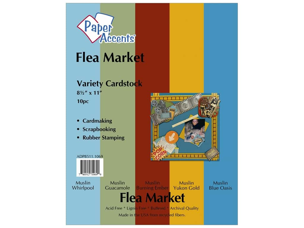 Paper Accents Cardstock Variety Pack 8 1/2 x 11 in. Flea Market 10 pc. ADP8511.1069