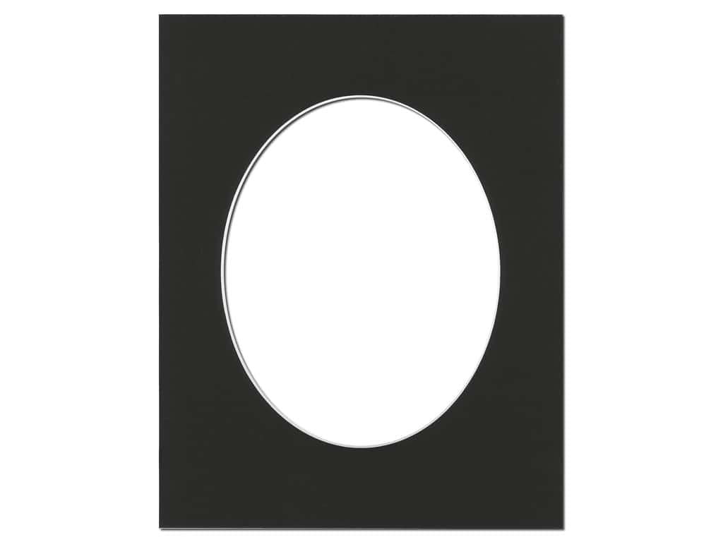 Pre Cut Oval Photo Mat Board White Core 11 X 14 In Black