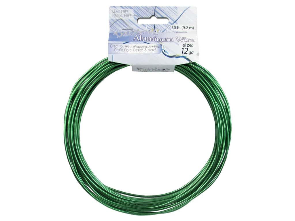 Dazzle It Aluminum Wire 12 ga. 30 ft. Round Green