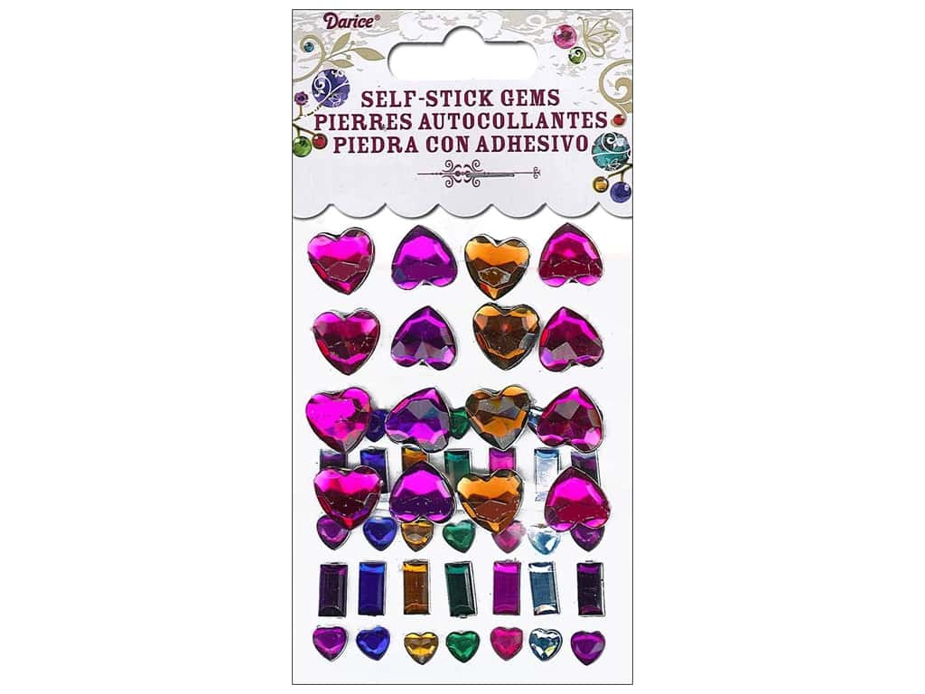 Darice Self-Stick Gems 6 - 12 mm Hearts & Bars 51 pc. Vibrant 1210-36