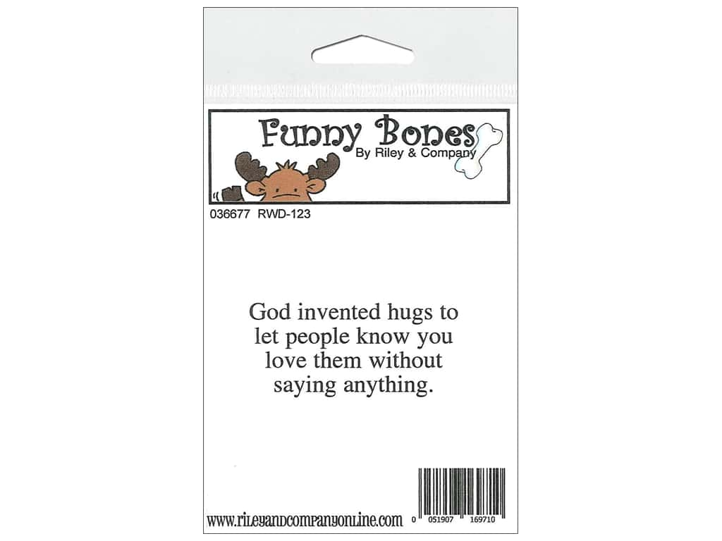Riley & Company Cling Stamps Funny Bones God Invented Hugs RWD-123
