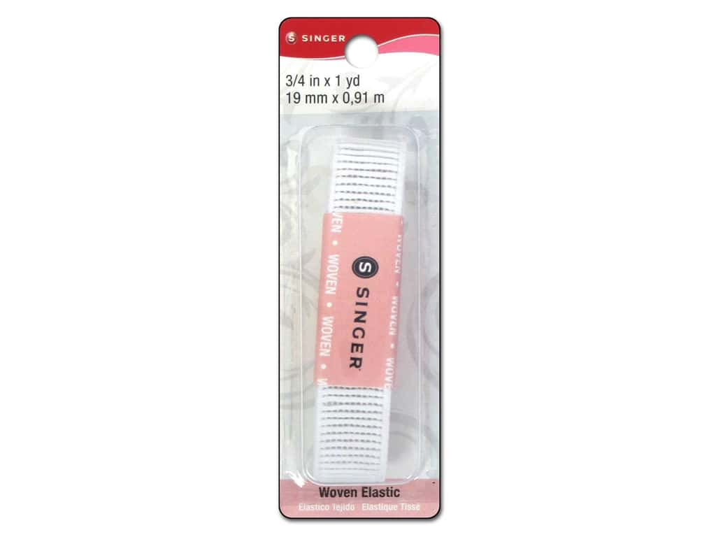 Singer Ribbed Non-Roll Elastic White 3/4 in. x 1 yd.