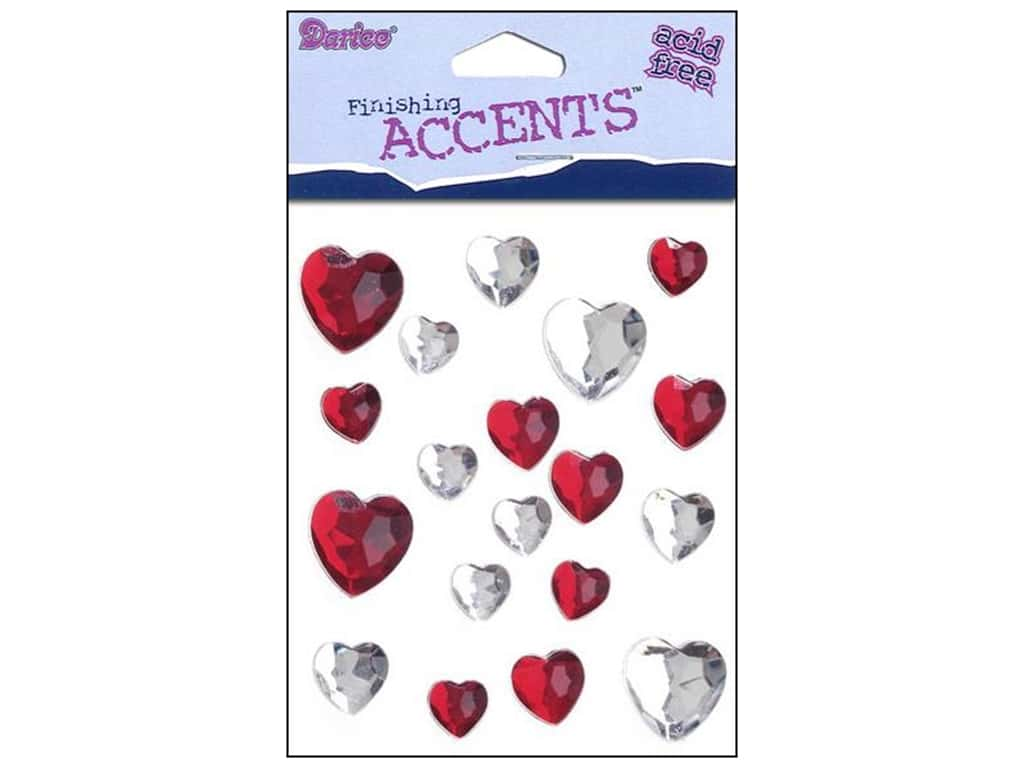 Darice Self-Stick Gems 12 mm Heart 19 pc. Red/Clear 1202-70