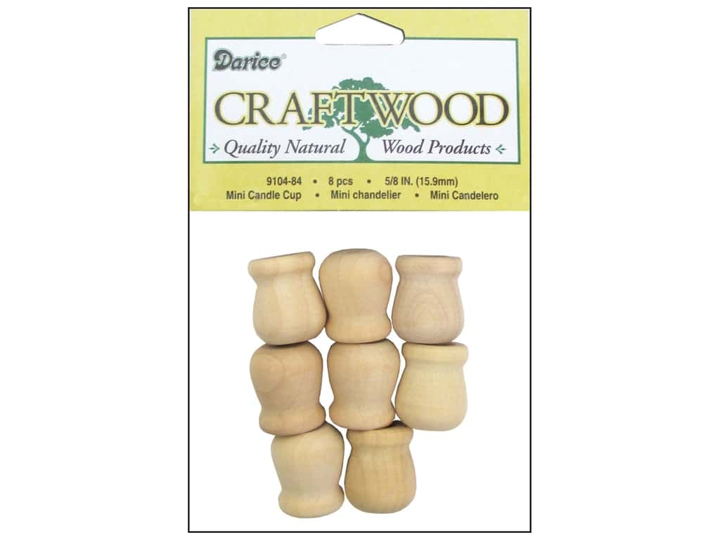 Darice Wood Craftwood Candle Cup Mini 5/8 in. 8 pc. 9104-84