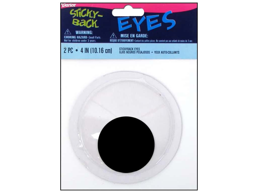 Darice Googly Eyes Sticky Back 4 in. Black 2 pc.