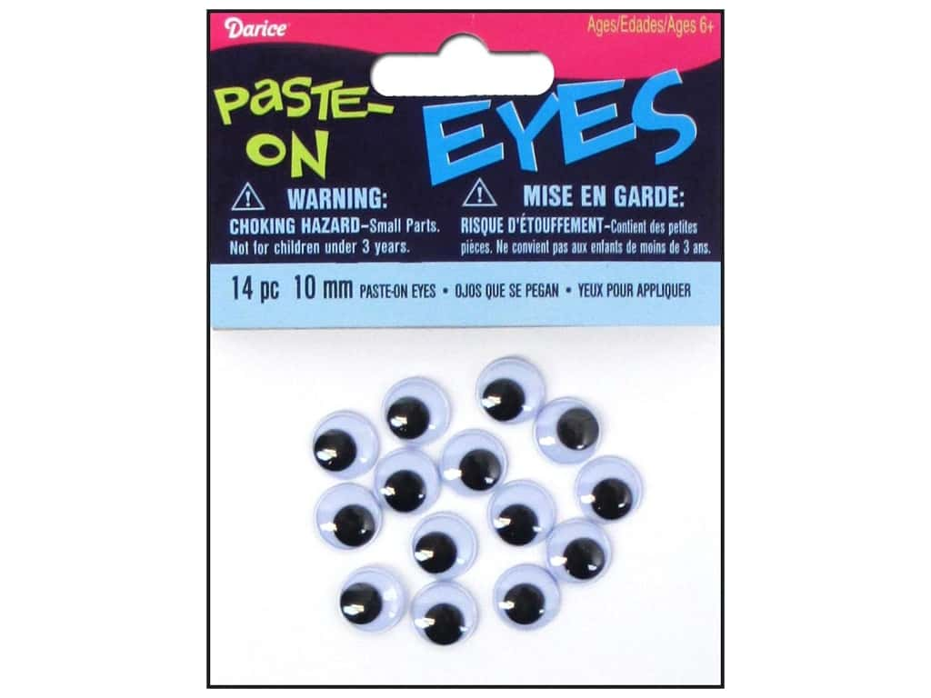 Googly Eyes by Darice Paste-On 10 mm Black 14 pc.