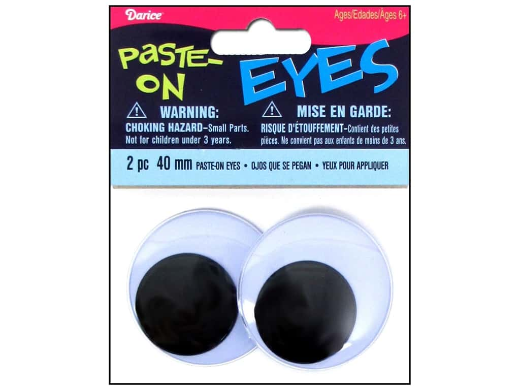 Googly Eyes by Darice Paste-On 40 mm Black 2 pc.