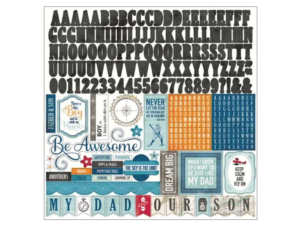 Echo Park Sticker 12 x 12 in. Jack & Jill Boy Collection Alphabet JJB80015