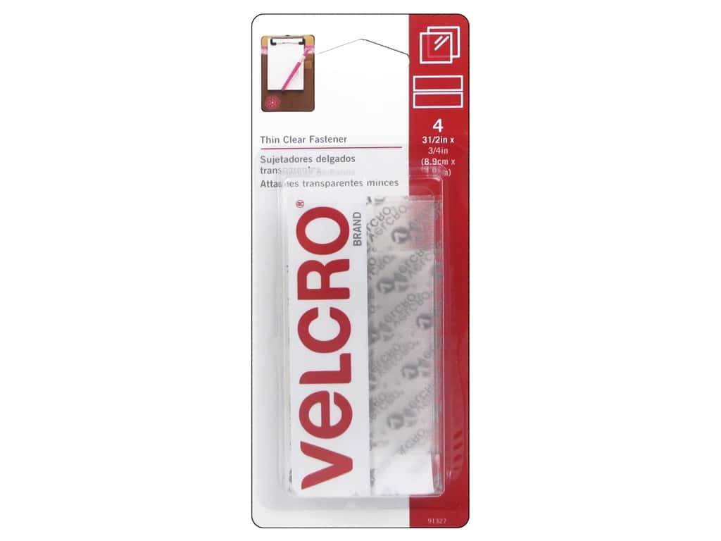 Velcro Sticky Back Tape 3/4 x 3 1/2 in. Clear 4 pc.