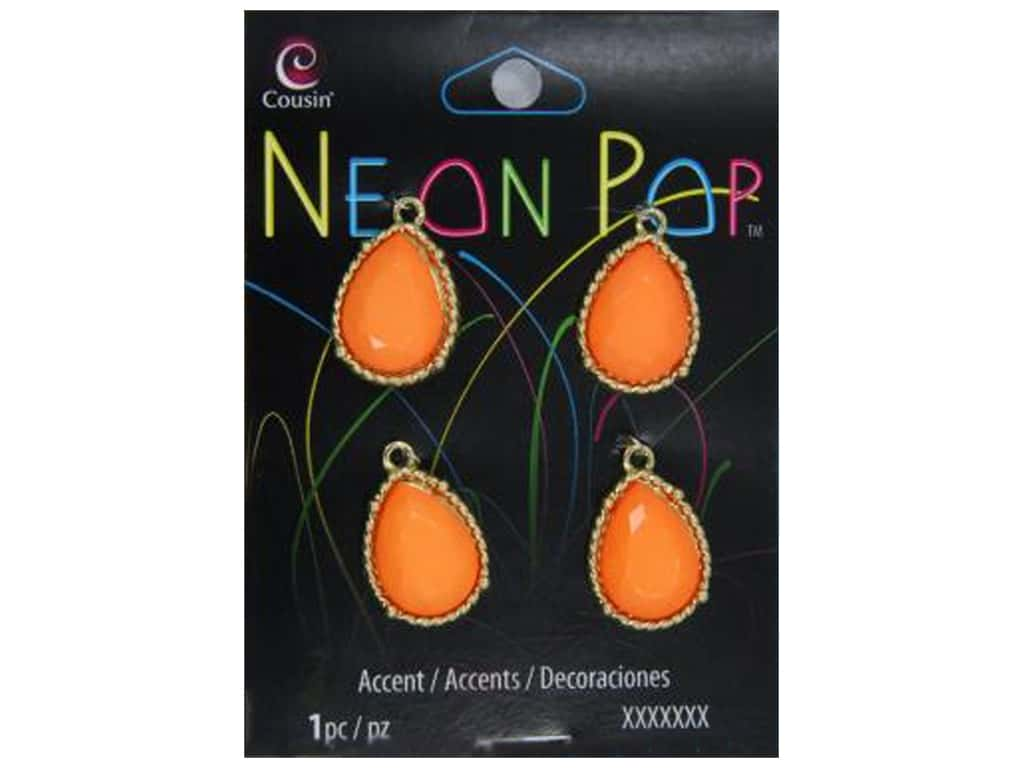 Cousin Neon Pop Collection Frame Teardrops Orange/Gold 4pc