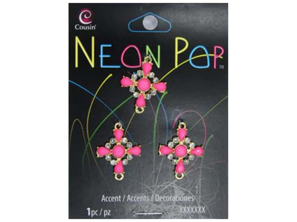 Cousin Neon Pop Collection Connector Cross Pink 3pc