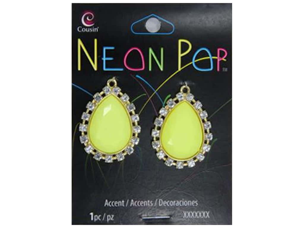 Cousin Neon Pop Collection Teardrop Accent Rhinestone Yellow/Clear 2pc