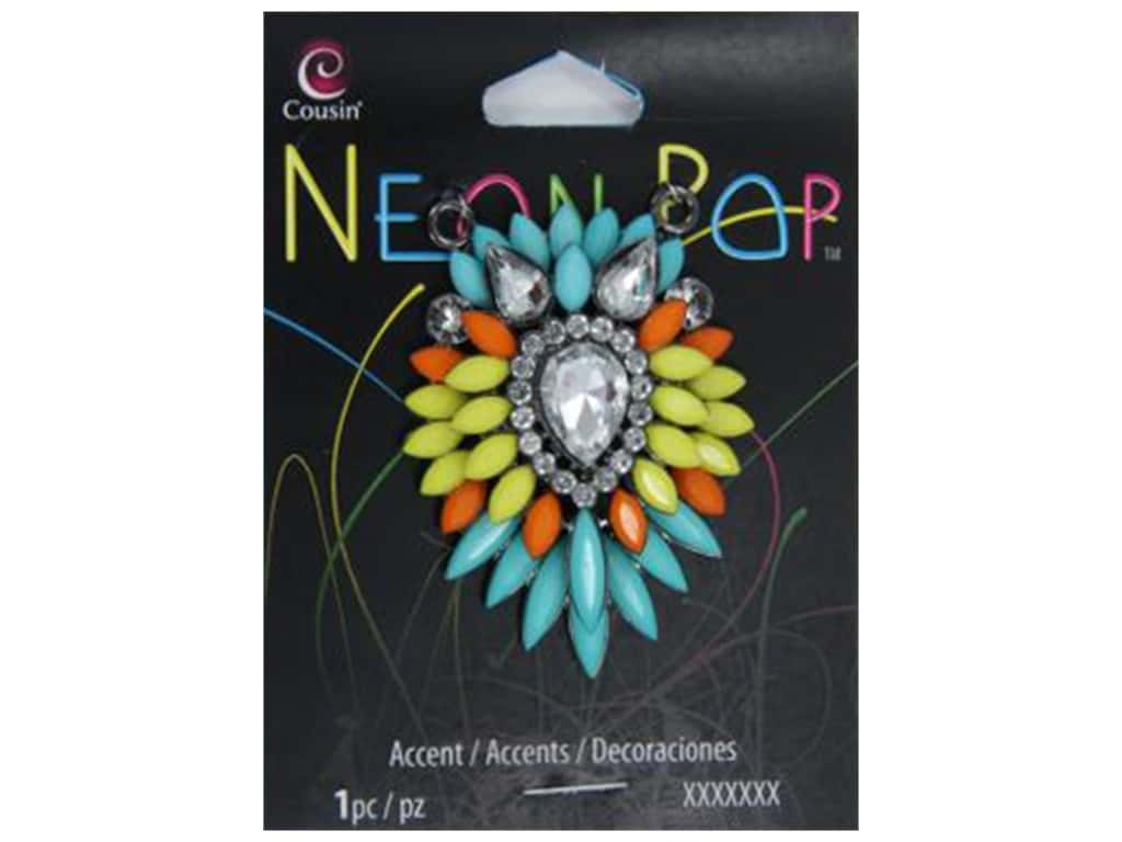 Cousin Neon Pop Collection Cluster Accents Turquoise/Orange/Yellow