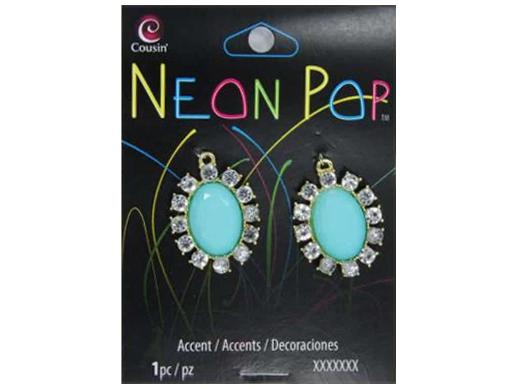 Cousin Neon Pop Collection Oval Accents Rhinestone Turquoise/Clear 2pc