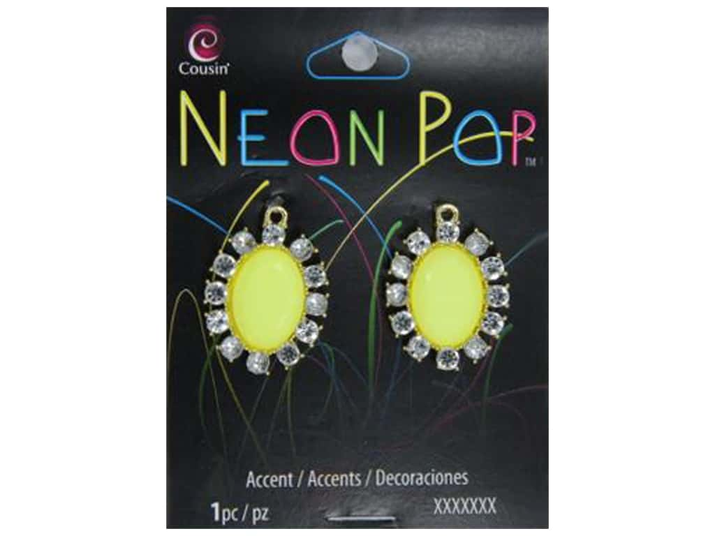 Cousin Neon Pop Collection Oval Accents Rhinestone Yellow/Clear 2pc
