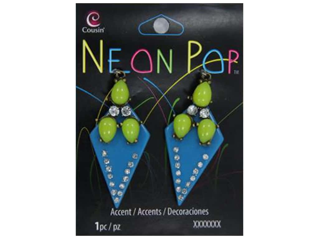 Cousin Neon Pop Collection Rhinestone Accents Blue/Green 2pc