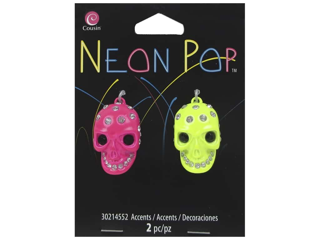 Cousin Neon Pop Collection Skull Rhinestone Pink/Yellow