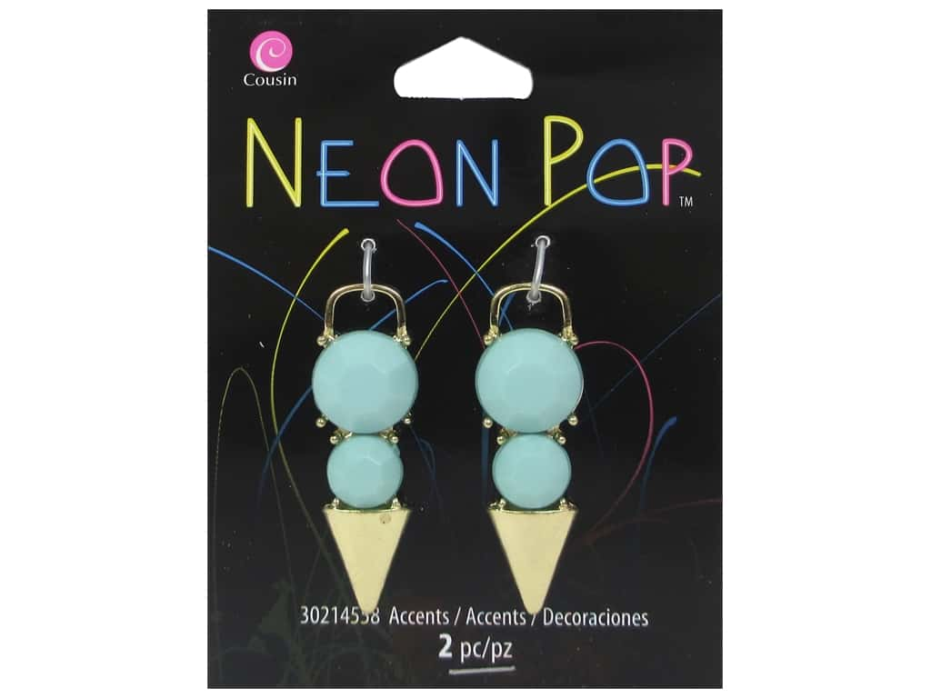 Cousin Neon Pop Collection Dagger Accent Turquoise/Gold 2pc