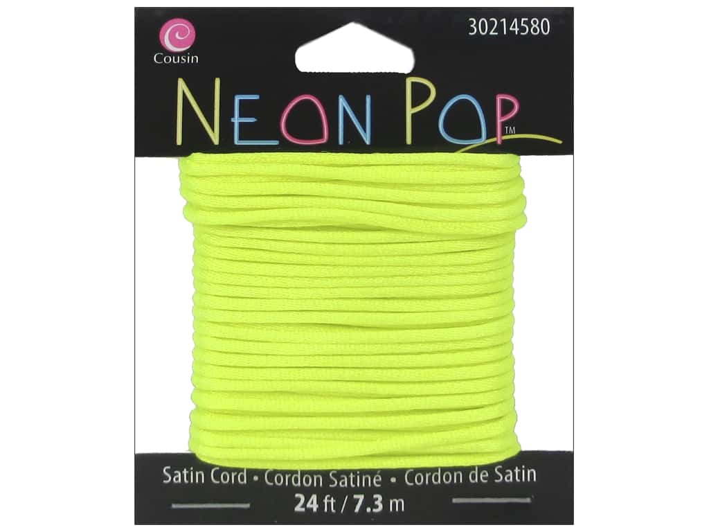 Cousin Neon Pop Collection Satin Cord Yellow 24ft